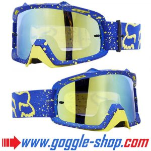 FOX AIR SPACE MOTOCROSS MX GOGGLES - CAM SINCLAIR BLUE with GOLD MIRROR LENS