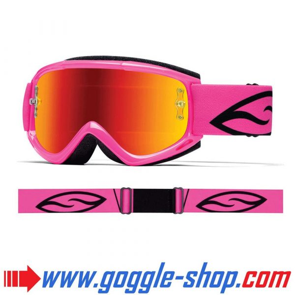 SMITH FUEL V1 MAX MIRROR MOTOCROSS BIKE GOGGLES BRIGHT PINK with RED MIRROR LENS