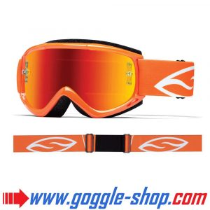SMITH FUEL V1 MAX MIRROR MOTOCROSS MX GOGGLES NEON ORANGE with RED MIRROR LENS