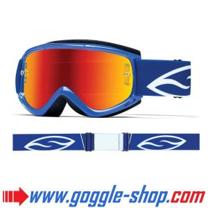 SMITH FUEL V1 MAX MIRROR MOTOCROSS MX GOGGLES BLUE with RED MIRROR LENS