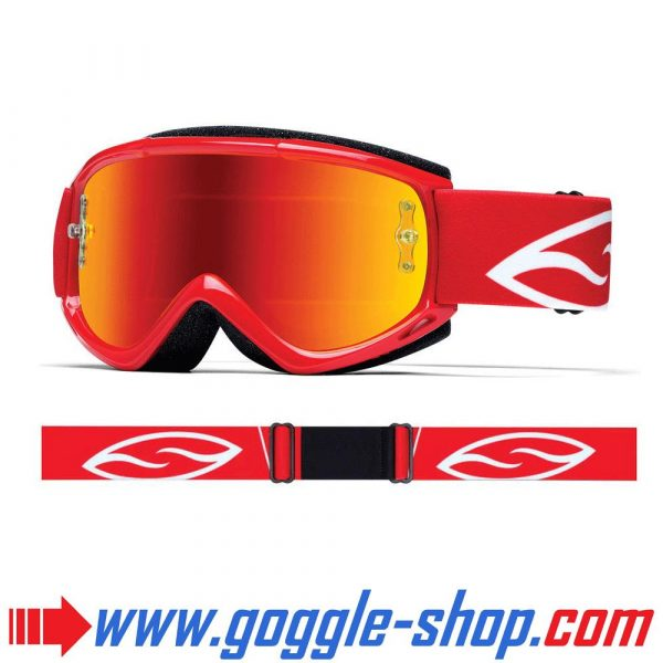 SMITH FUEL V1 MAX MIRROR MOTOCROSS MX GOGGLES RED with RED MIRROR LENS
