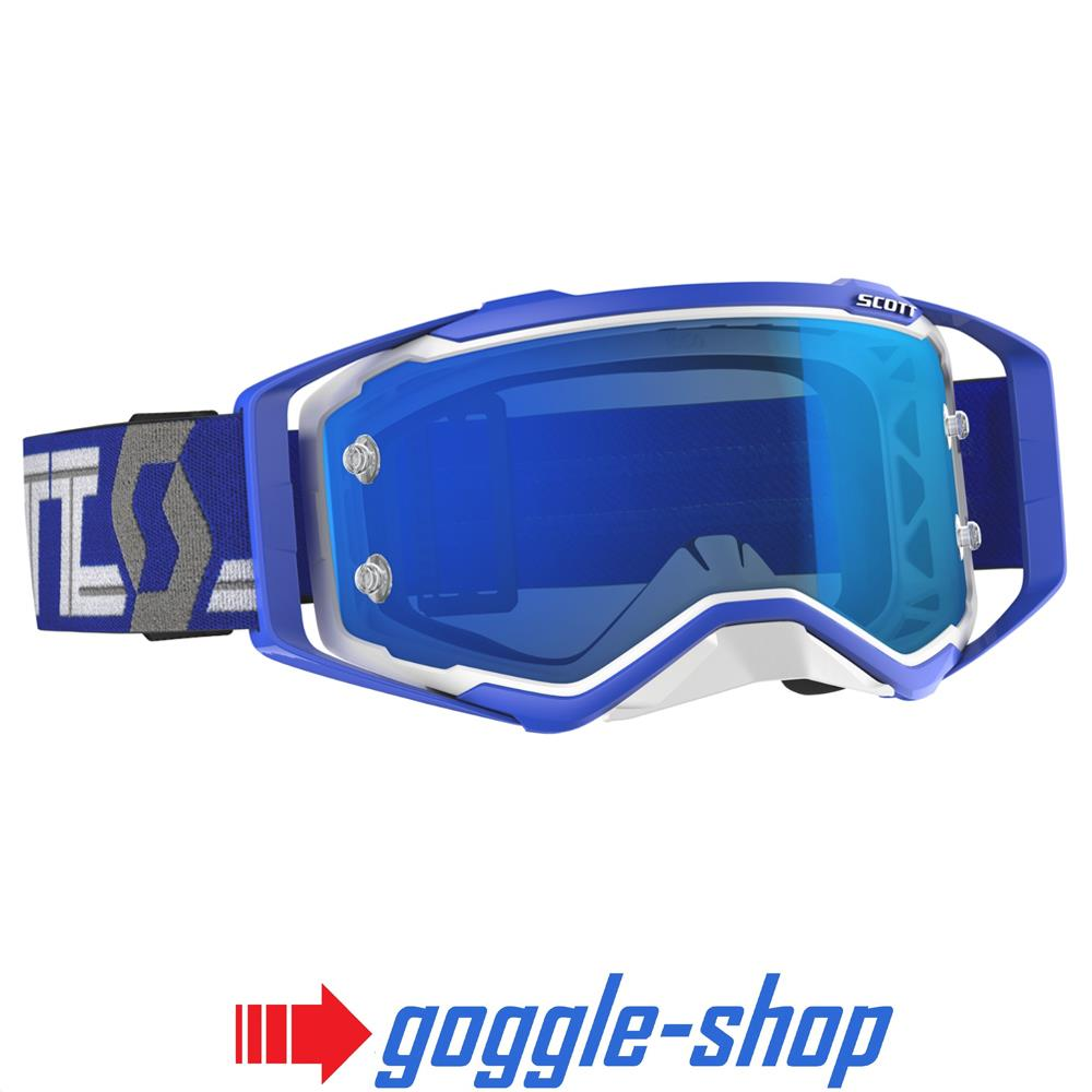 8f1073629d7 2019 SCOTT PROSPECT MOTOCROSS MX GOGGLES – WHITE   BLUE   ELECTRIC CHROME  WORKS LENS