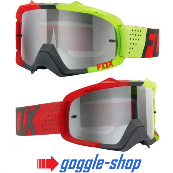 FOX AIR DEFENCE MOTOCROSS MX GOGGLES - LIBRA RED YELLOW / SILVER SPK MIRROR