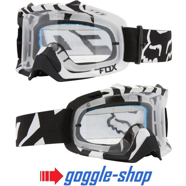 FOX AIR DEFENCE MOTOCROSS MX GOGGLES – BLACK WHITE ZEBRA / CLEAR