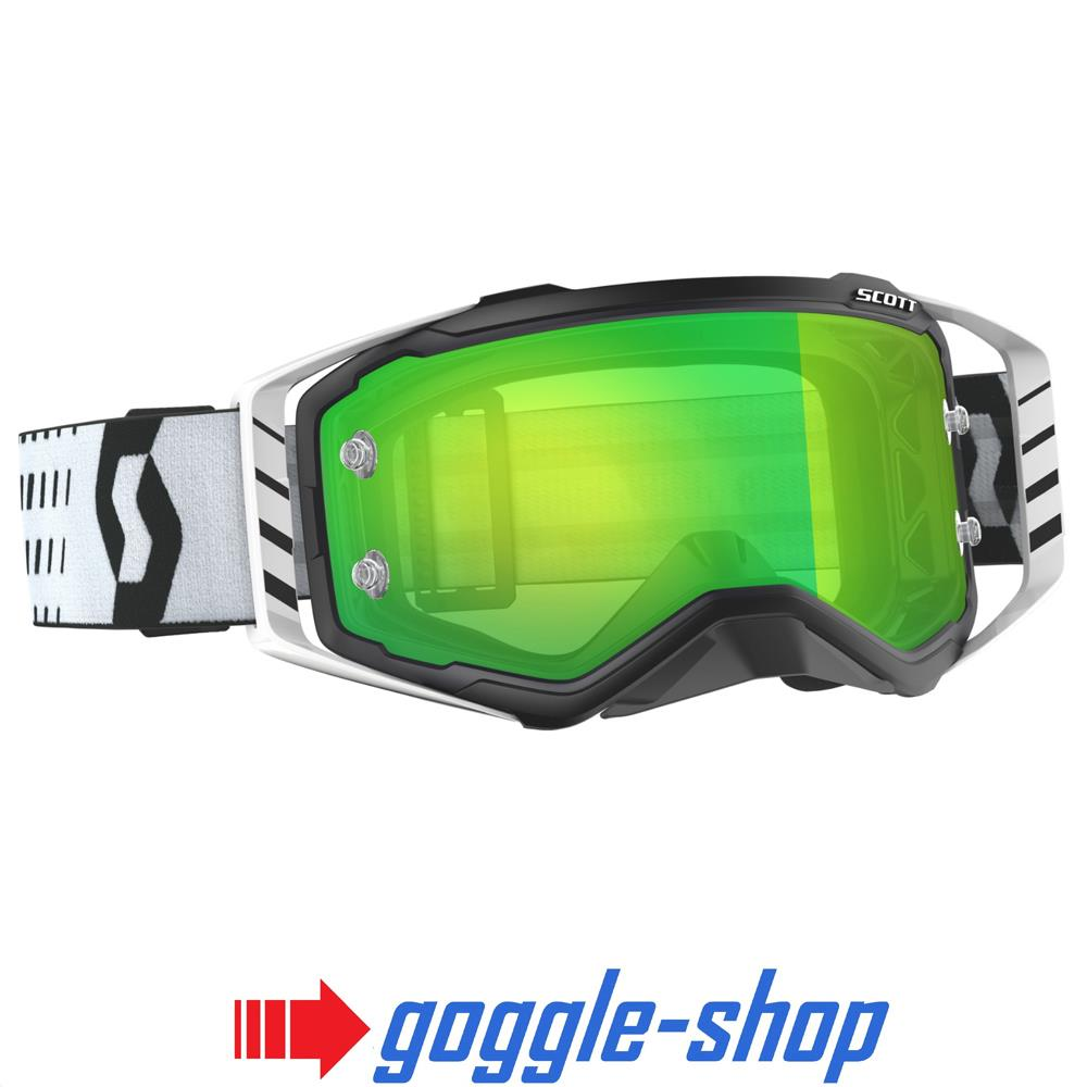 0ac2396c99d 2019 SCOTT PROSPECT MOTOCROSS MX GOGGLES – BLACK   WHITE   GREEN CHROME  WORKS LENS