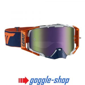 LEATT VELOCITY 6.5 MOTOCROSS MX GOGGLES - ORANGE / INK IRIZ PURPLE MIRROR LENS