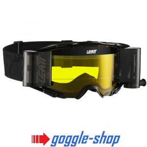 LEATT VELOCITY 6.5 ROLL-OFF MOTOCROSS MX GOGGLES - BLACK / GREY YELLOW LENS