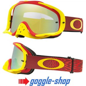 OAKLEY CROWBAR MOTOCROSS MX BIKE GOGGLES – SHOCKWAVE RED YELLOW / 24K IRIDIUM