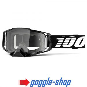 100% PERCENT ARMEGA MOTOCROSS GOGGLES – BLACK / ULTRA HD SILVER MIRROR LENS