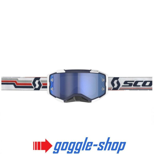 2020 SCOTT FURY MOTOCROSS MX GOGGLES BLUE / WHITE / BLUE CHROME MIRROR LENS