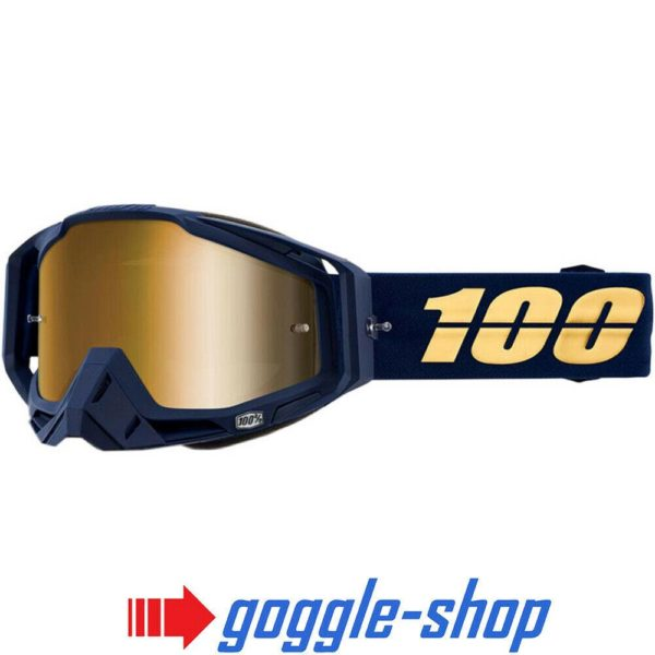 100% PERCENT RACECRAFT MX MOTOCROSS GOGGLES BAKKEN BLUE CLEAR / GOLD MIRROR NEW