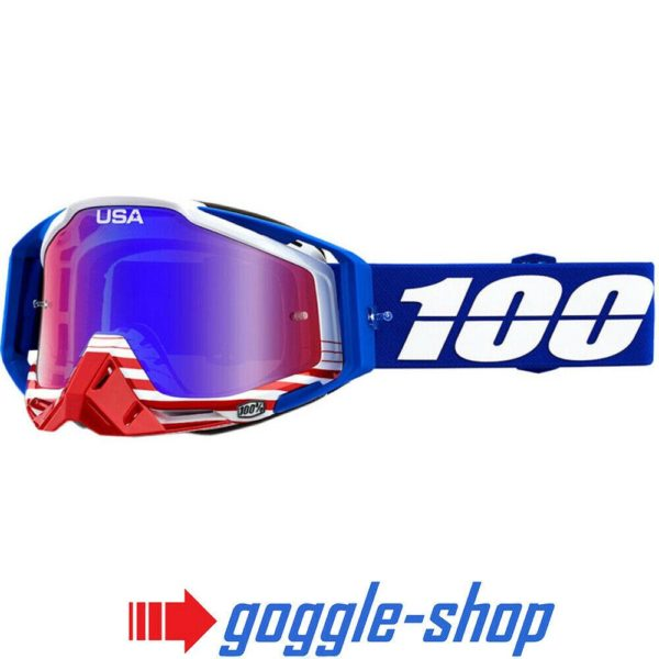 100% PERCENT RACECRAFT MX MOTOCROSS GOGGLES ANTHEM RED CLEAR / BLUE MIRROR NEW