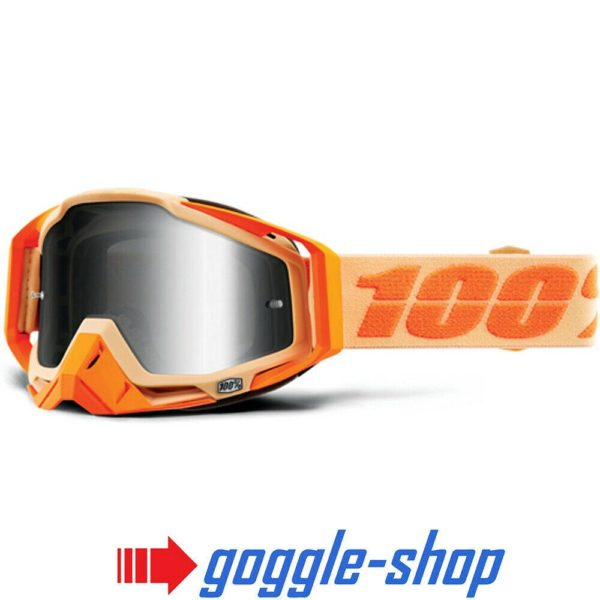 100% PERCENT RACECRAFT MX MOTOCROSS GOGGLES SAHARA ORANGE CLEAR / MIRROR NEW