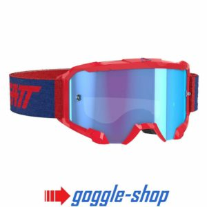 LEATT VELOCITY 4.5 MOTOCROSS MX GOGGLES - RED / BLUE LENS