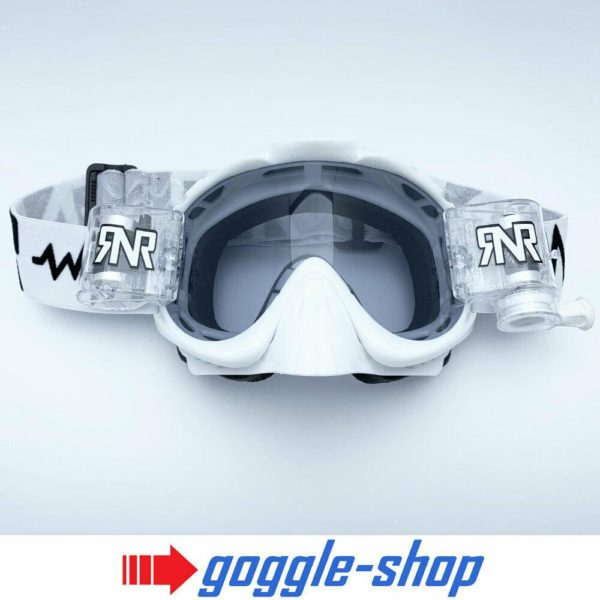 RIP N ROLL MOTOCROSS MX ENDURO BIKE GOGGLES HYBRID RnR - WHITE with tinted lens