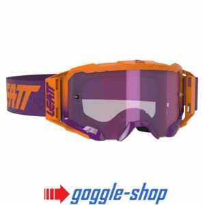 LEATT VELOCITY 5.5 MOTOCROSS MX GOGGLES - IRIZ NEON ORANGE- PURPLE LENS