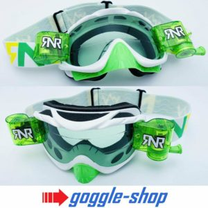 RIP N ROLL MOTOCROSS ENDURO MX BIKE GOGGLES HYBRID RnR - LIMITED WHITE / GREEN