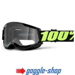 100% STRATA 2.0 MOTOCROSS MX BIKE MTB GOGGLES UPSOL BLACK CLEAR / MIRROR LENS